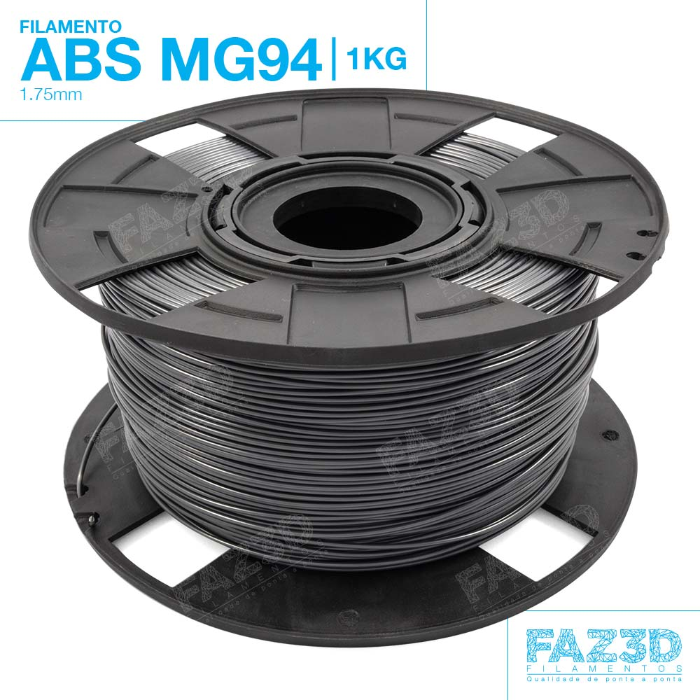 Filamento ABS - Cinza - Premium MG94 - FAZ3D - 1.75mm - 1kg