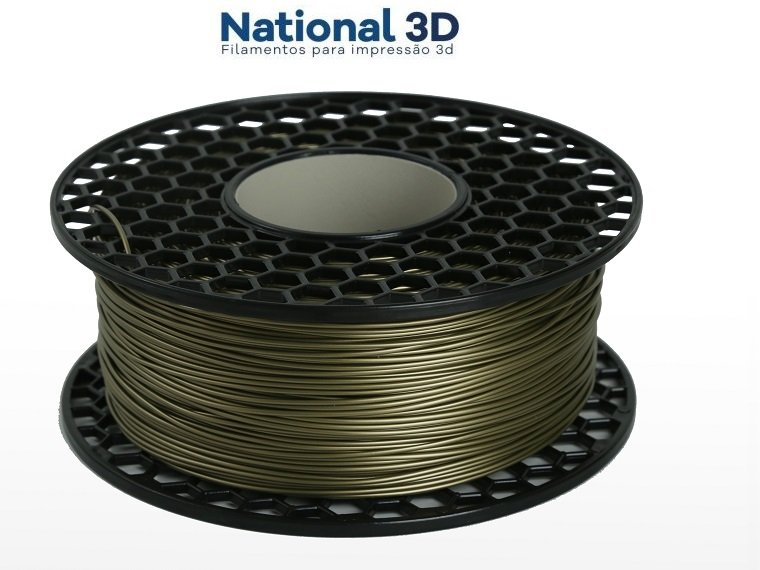 Filamento ABS - Dourado - Premium MG94 - National 3D - 1.75mm - 1kg