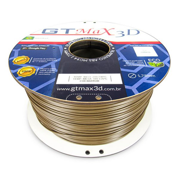 Filamento ABS- Marrom - Premium MG94 - GTMax 3D - 1.75mm - 1KG