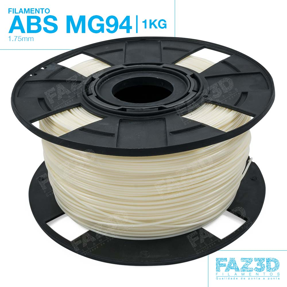 Filamento ABS - Natural - Premium MG94 - FAZ3D - 1.75mm - 1kg