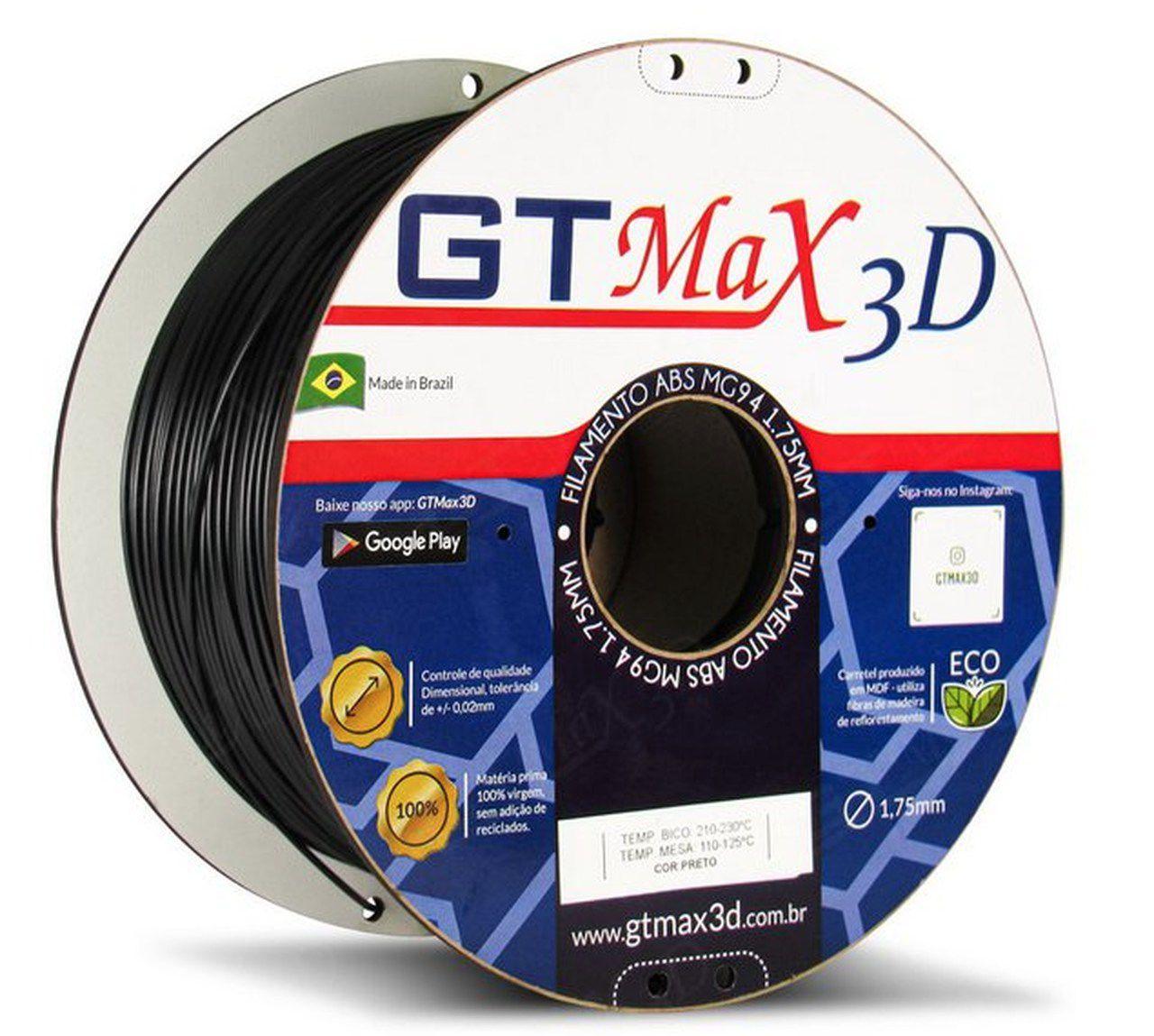 Filamento ABS - Preto - Premium MG94 - GTMax 3D - 1.75mm - 1KG