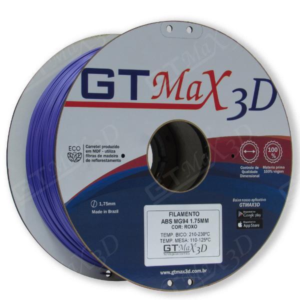 Filamento ABS- Roxo - Premium MG94 - GTMax 3D - 1.75mm - 1KG