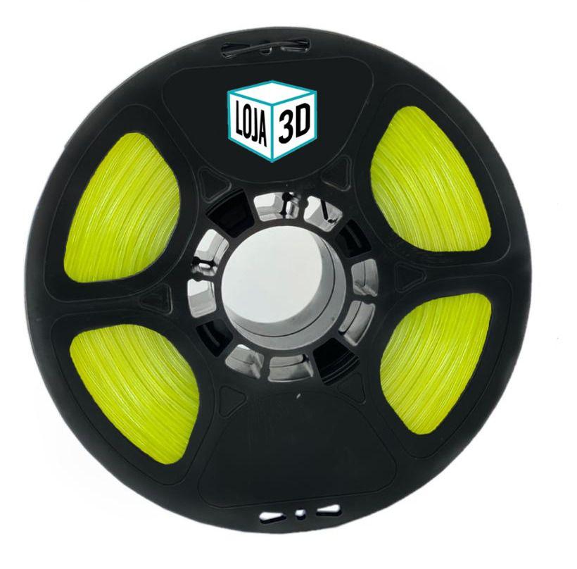 Filamento Flex TPU Premium - Amarelo Neon - Loja 3D - 1.75mm - 1kg