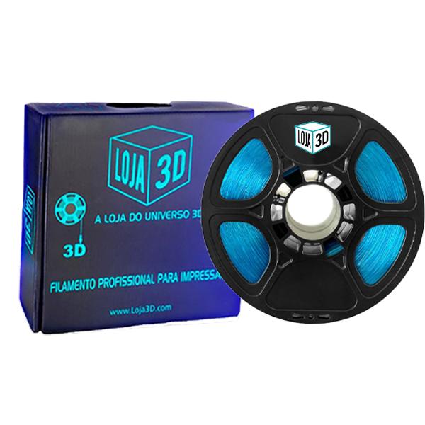 Filamento Flex TPU Premium - Azul Cristal - Loja 3D - 1.75mm - 1kg