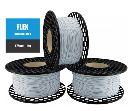 Filamento Flexível TPU 95A - Branco Azulado - National 3D - 1.75mm - 1kg