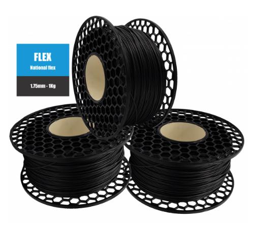 Filamento Flexível TPU 95A - Preto - National 3D - 1.75mm - 1kg