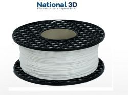 Filamento Flexível TPU Shore 52D - Branco - National 3D - 1.75mm - 1kg