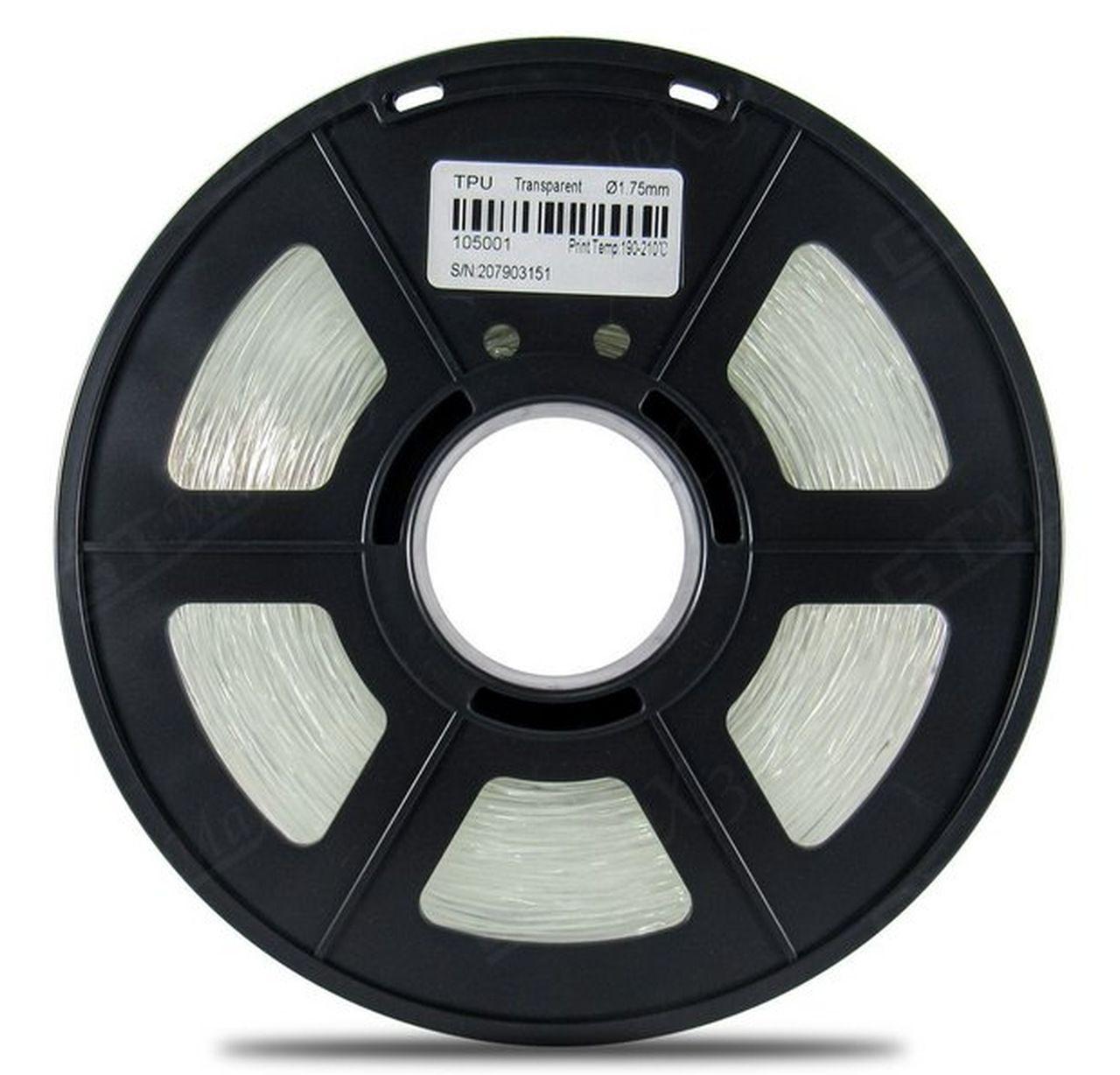 Filamento Flexível TPU - Transparente - GTMax3D - 1.75mm - 500g