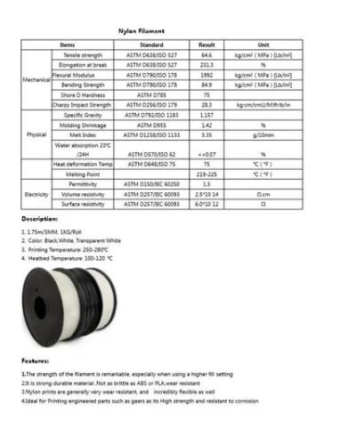 Filamento - Nylon - Preto - R3D - 1.75mm - 1kg