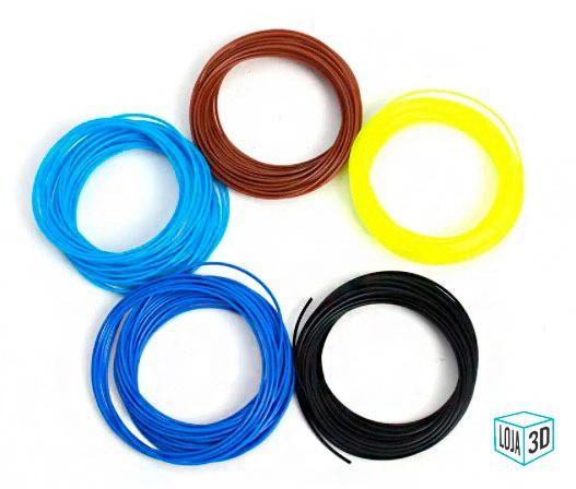 Filamento para Caneta 3D - ABS Pro - LG - Loja 3D - 5 Rolinhos de 5 Metros  - 25 metros