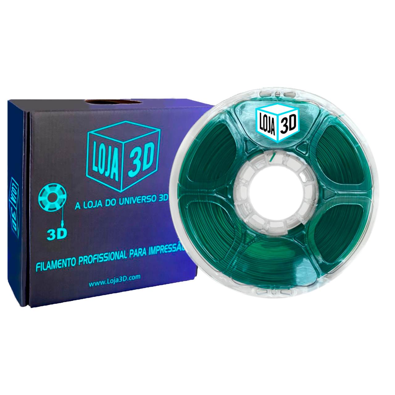 Filamento PET-G Pro - Verde - Loja 3D - 1.75mm - 1kg