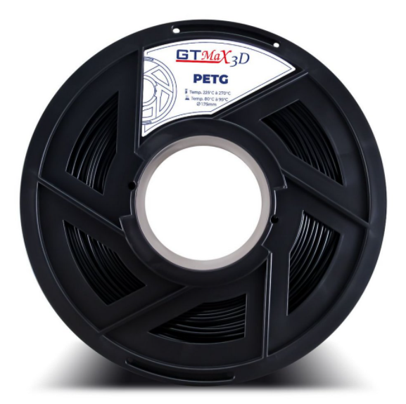 Filamento PETG - Preto - PETG  - GTMax 3D - 1.75 mm - 1 KG