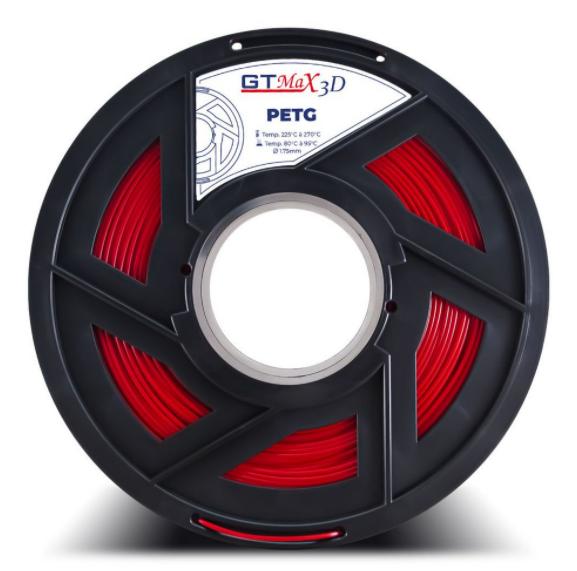 Filamento PETG - Vermelho - PETG  - GTMax 3D - 1.75 mm - 1 KG