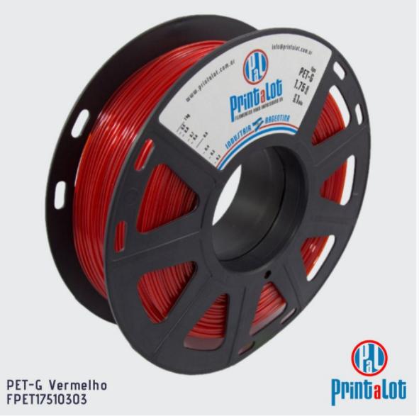 Filamento PETG - Vermelho - PrintaLot - 1.75mm - 1KG