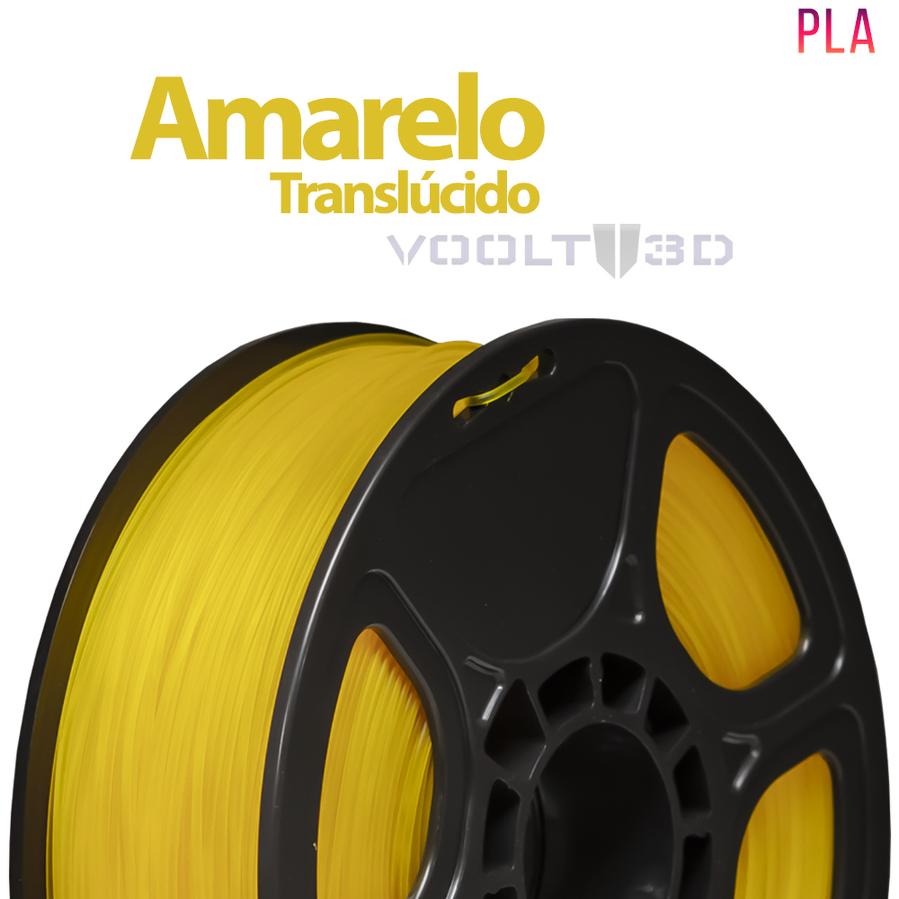 Filamento PLA - Amarelo Translúcido - Voolt - 1.75mm - 1kg