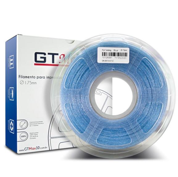 Filamento PLA - Azul Cintilante - GTMax 3D - 1.75mm - 1KG
