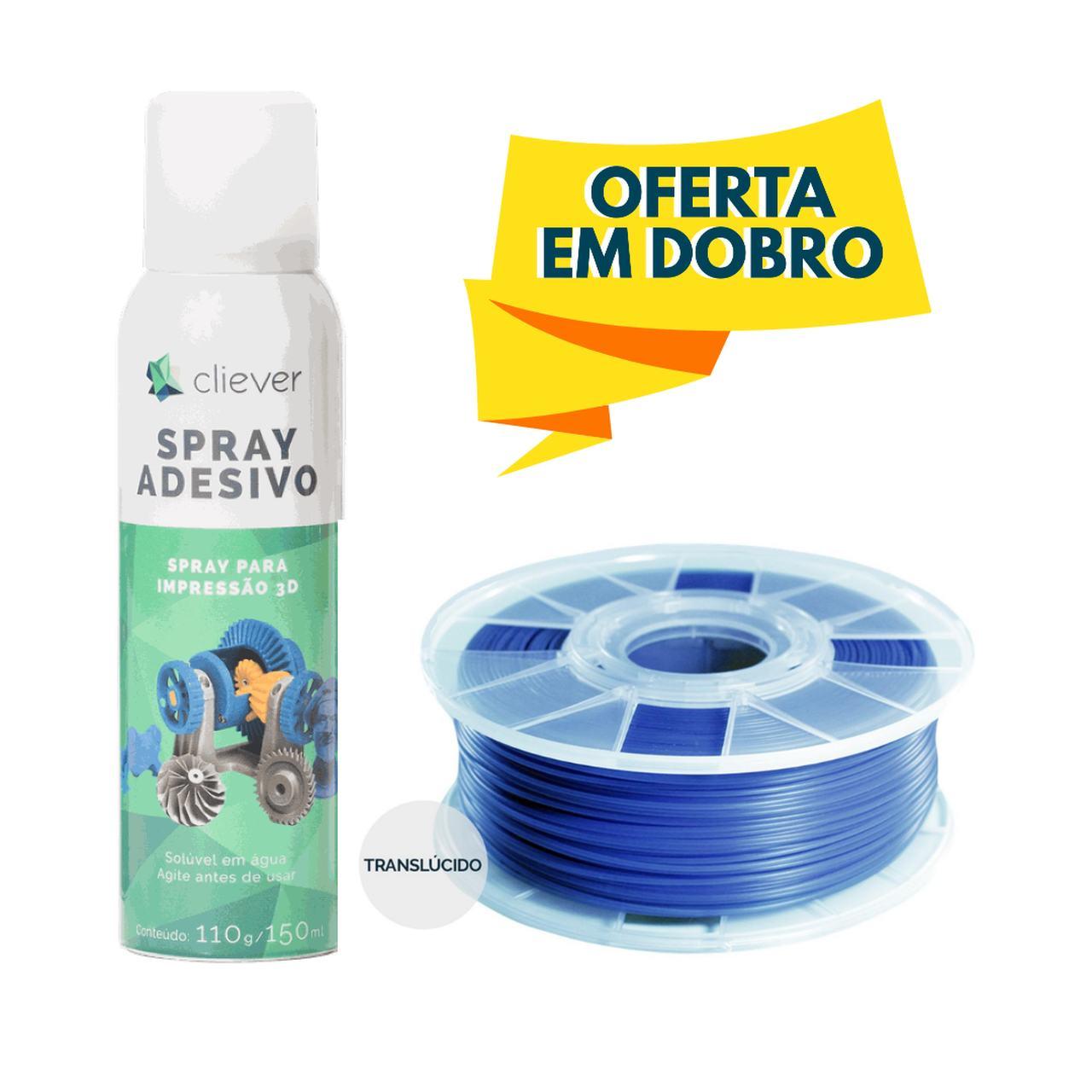 Filamento PLA - Azul Oceano - Cliever - 1.75mm - 1kg + 1 Spray Fixador