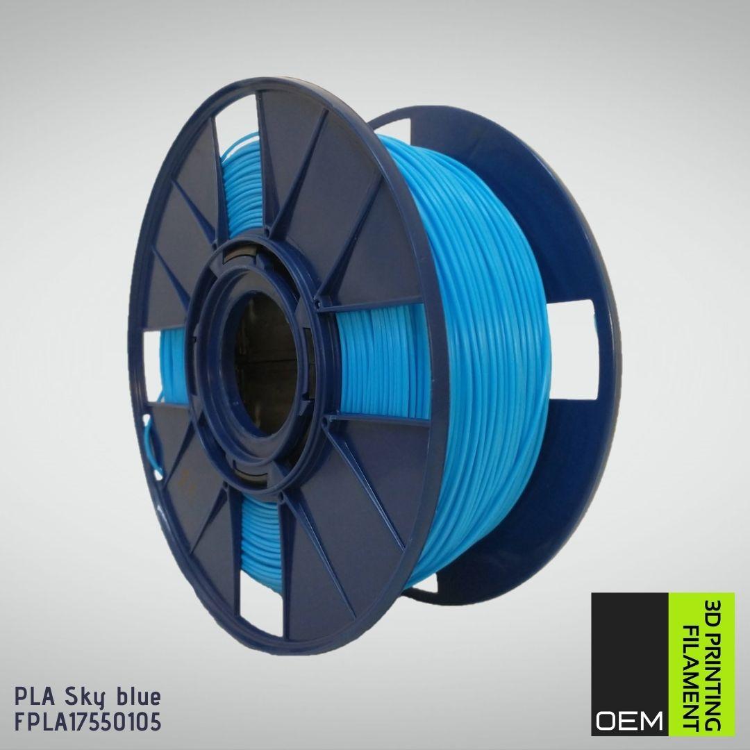 Filamento PLA - Azul Sky - OEM - 1.75mm - 1KG