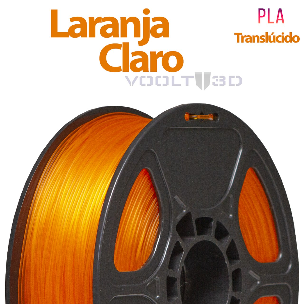 Filamento PLA - Laranja Claro Translúcido - Voolt - 1.75mm - 1kg