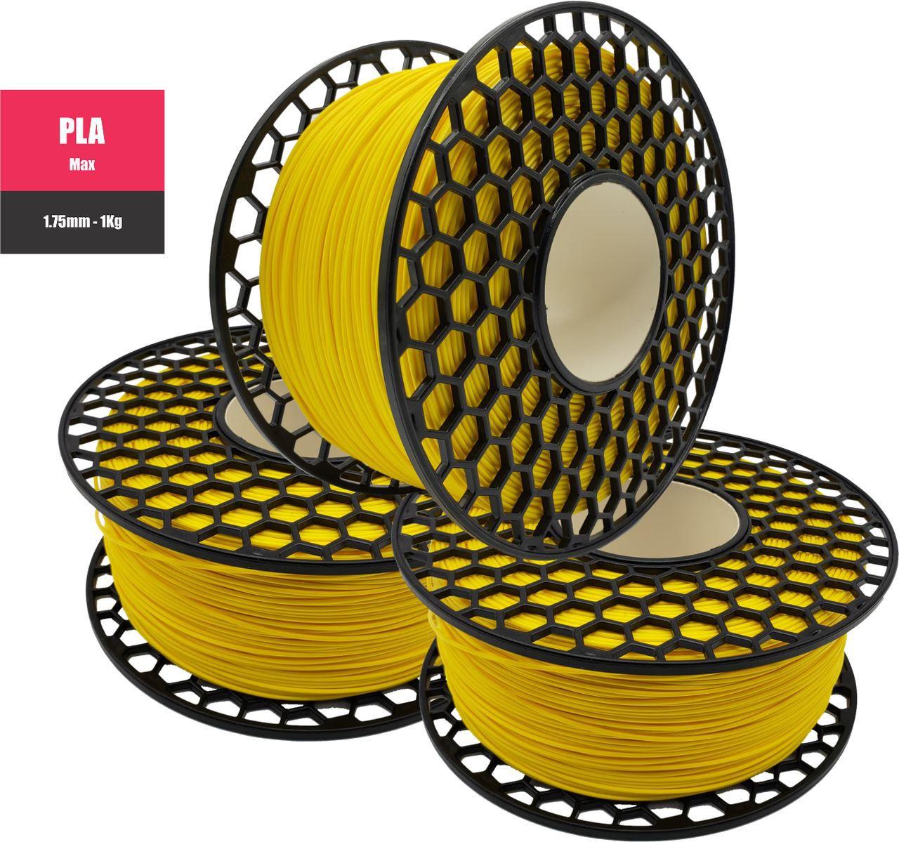 Filamento PLA Max - Amarelo - National 3D - 1.75mm - 1KG