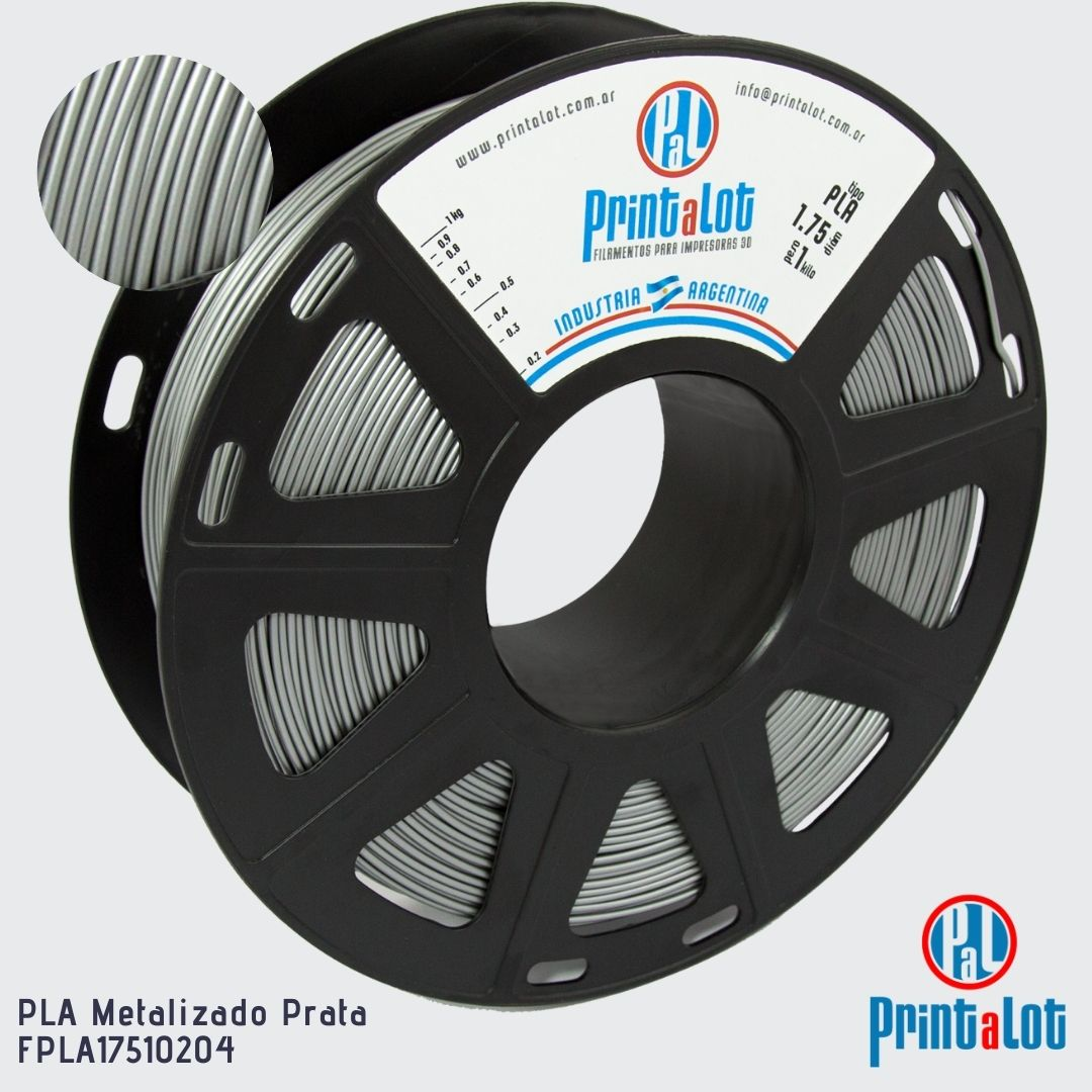 Filamento PLA - Metalizado Prata - PrintaLot - 1.75mm - 1KG
