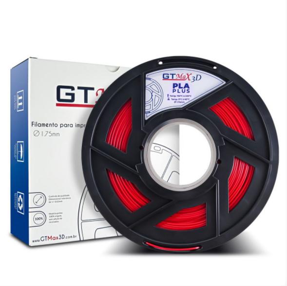 Filamento PLA Plus - Vermelho - GTMax 3D - 1.75mm - 1KG