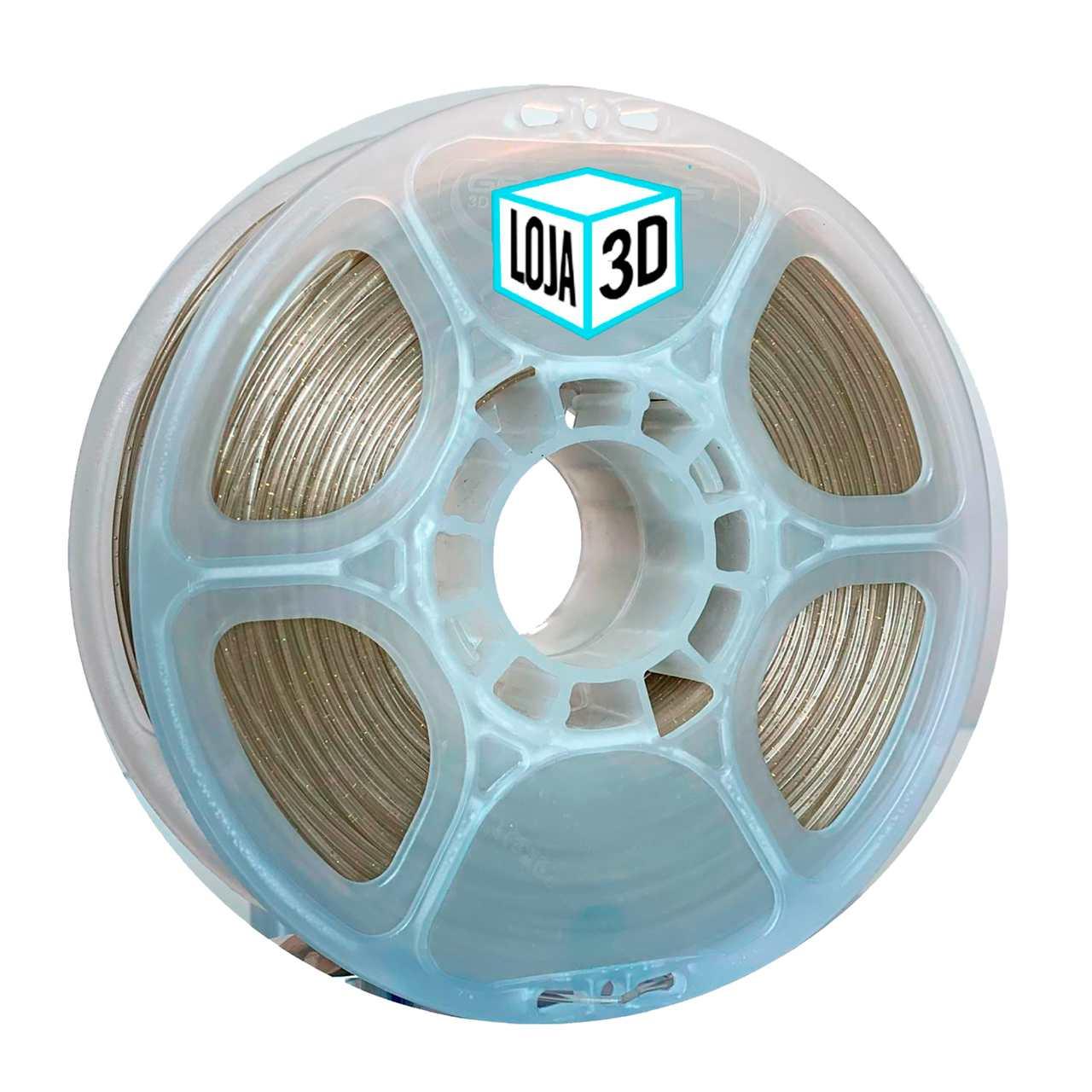Filamento PLA Pro de Alta Resistência - Natural Translúcido com Glitter - Loja 3D - 1.75mm - 1kg