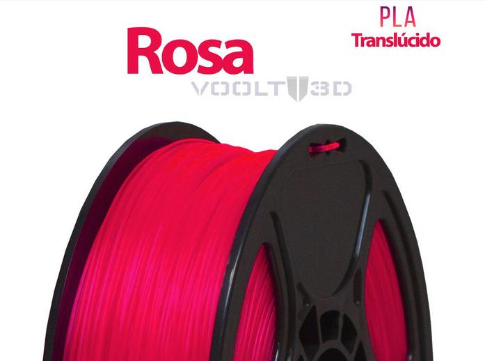Filamento - PLA - Rosa Translúcido - Voolt 3D - 1kg