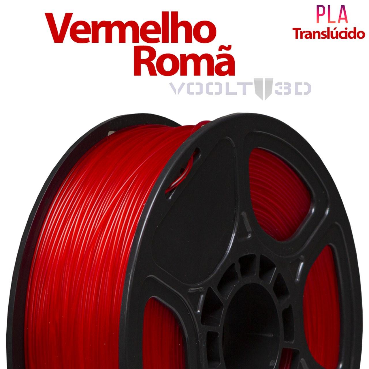 Filamento PLA - Vermelho Romã Translúcido - Voolt - 1.75mm - 1kg