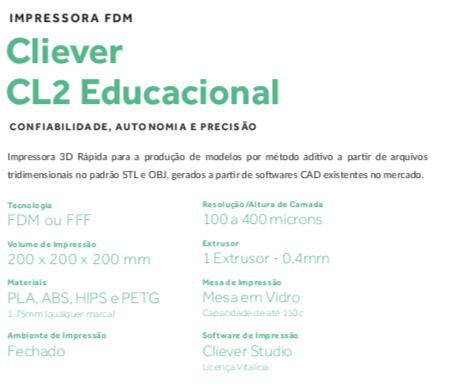 Impressora 3D CL2 Educacional + 1 KG De PLA - Cliever