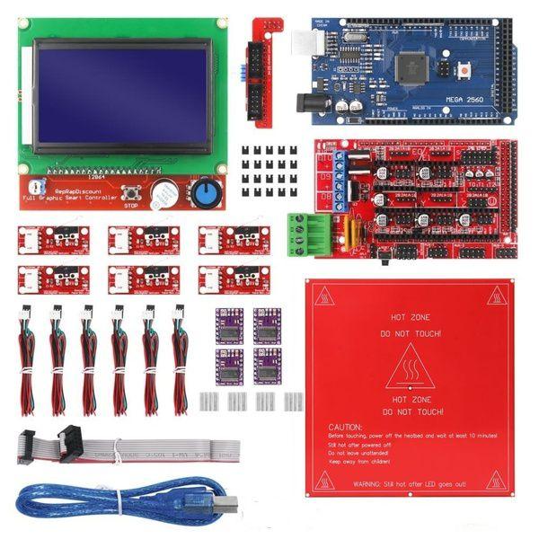 Kit para Impressora 3D ou CNC com placa Mega 2560, RAMPS 1.4, DRV8825, LCD 12864, MK2b para Arduino