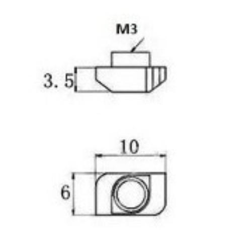 Porca T Martelo - M4 - Perfil - 6mm - Kit com 20 Unidades