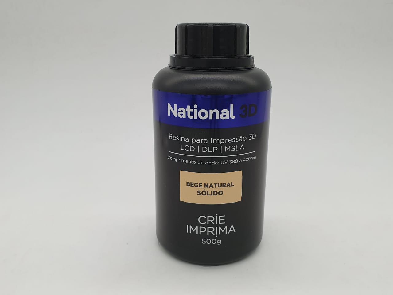 Resina  - Bege Natural - Sólidos - National 3D - 500 ml