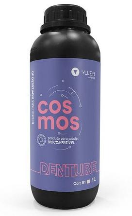 Resina de Impressão 3D - Cosmos - Denture - Cor: Rosa - Biocompatível para Dentaduras - Yller - DLP - 1 Litro