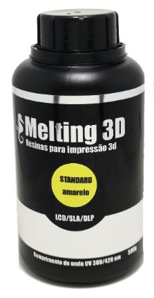 Resina Melting 3D - Amarelo Translúcido - Standard - LCD/SLA/DLP - 380/420nm - 500 ml