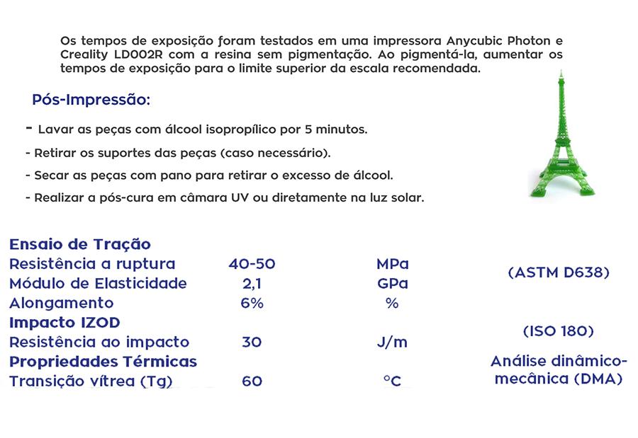 Resina Pro de Alta Performance - Cinza - Standard - Loja 3D - DLP/LCD - 500 ml