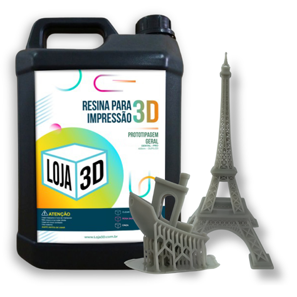 Resina Pro de Alta Performance - Cinza - Standard - Loja 3D - DLP/LCD - 5 Litros
