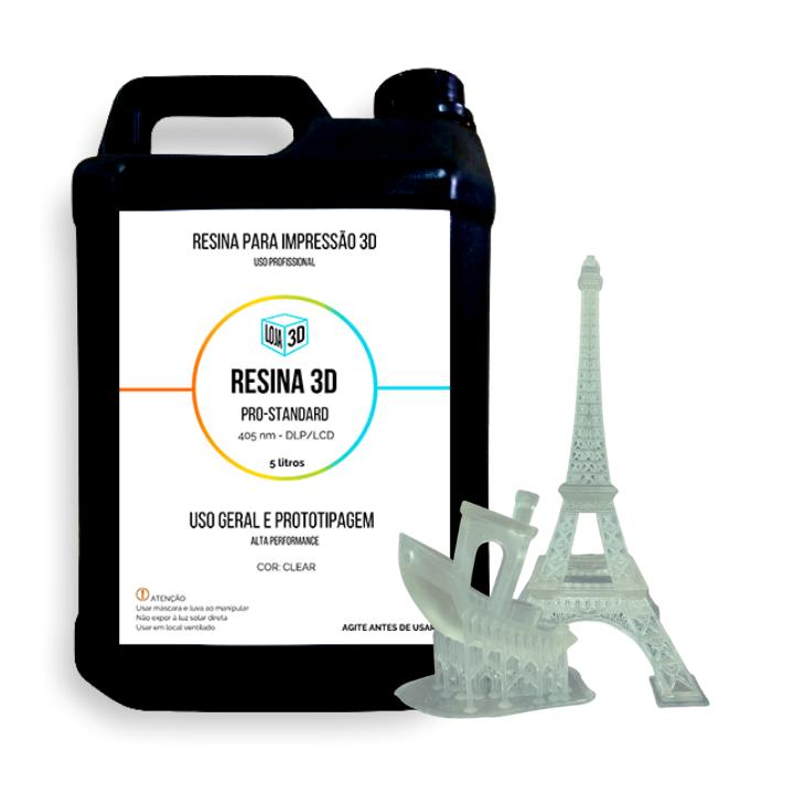 Resina Pro de Alta Performance - Clear - Standard - Loja 3D - DLP/LCD - 5 Litros