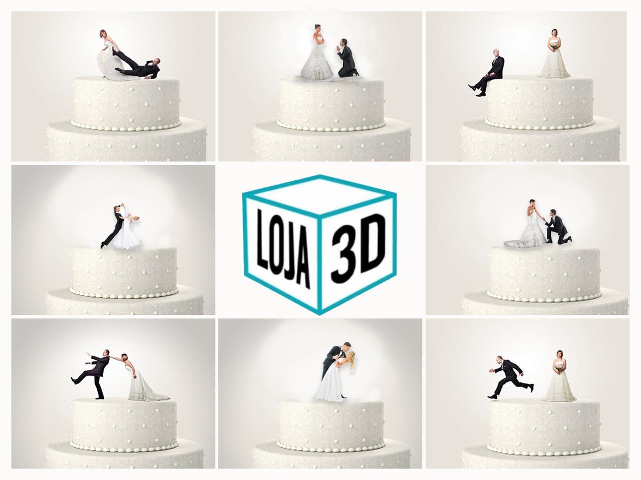 Impressão 3D Personalizada - Topo de Bolo - Casal