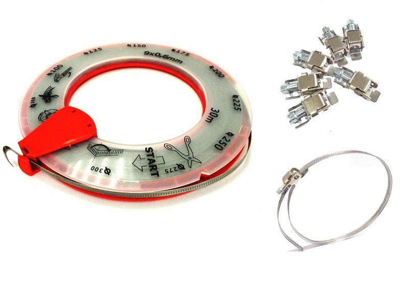 Abraçadeira de Metal Rolo c/ 30 mts + 50 Presilhas