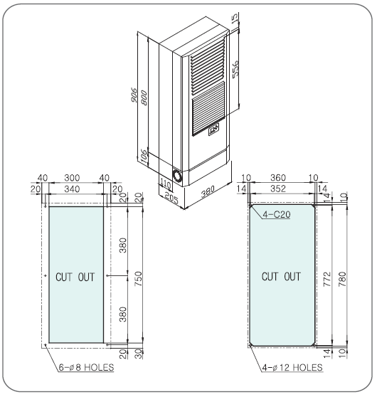Ar condicionado Para Painel Elétrico - 4000BTUs