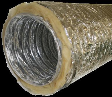 Duto Flex  Isolado Lã de Vidro 25mm - 6m - 10 Polegadas - 254mm