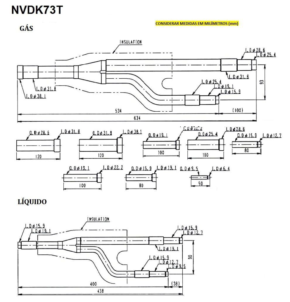 NVDK73T - JUNTA DE DERIVAÇÃO Y