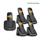 Kit Telefone Sem Fio Intelbras Identificador Chamadas Base TS 3110 + 4 Ramal Preto