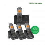 Kit Telefone Sem Fio Intelbras Entrada 2 Linhas ID Chamadas TS 5150 + 3 Ramais Preto