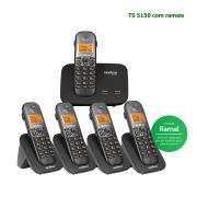 Kit Telefone Sem Fio Intelbras Entrada 2 Linhas ID Chamadas TS 5150 + 4 Ramais Preto