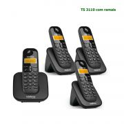 Kit Telefone Sem Fio Intelbras Identificador Chamadas Base TS 3110 + 3 Ramais Preto
