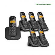 Kit Telefone Sem Fio Intelbras Identificador Chamadas Base TS 3110 + 5 Ramal Preto