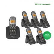 Kit Telefone Sem Fio Intelbras Identificador Chamadas Bina Viva Voz Base TS 5120 + 5 Ramais Preto