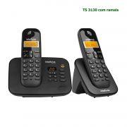 Telefone Sem Fio Intelbras Com Secretária Eletrônica Bina TS 3130 Kit Base + 1 Ramal Preto